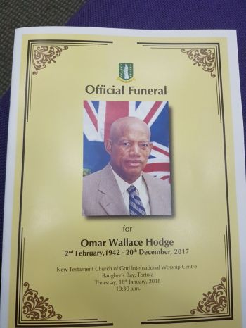 The funeral booklet for the late Omar W. Hodge. Photo: VINO