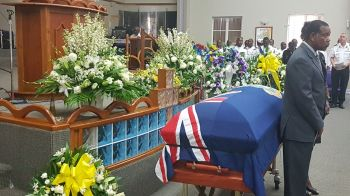 The flag draped casket bearing the body of Virgin Islands' son of the soil, Mr Omar Wallace Hodge. Photo: VINO
