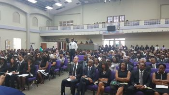 Inside the New Testament Church of God International Worship Centre in Baughers Bay, Tortola where the Official Funeral for the late legislator Mr Omar W. Hodge was held. Photo: VINO