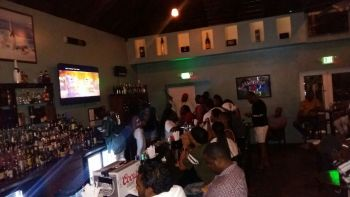 Viewing Super Bowl LII at Aromas Cigar and Martini Bar on Tortola Pier Park on February 4, 2018. Photo: Team of Reporters