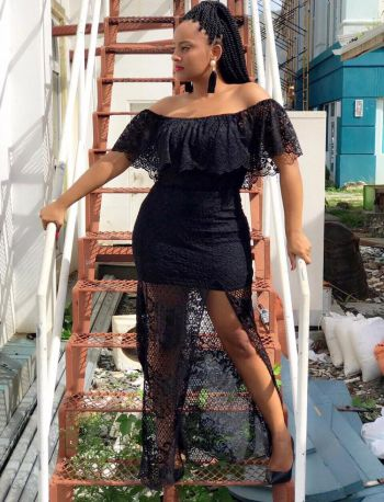 Young Professional Briana E. Henley often models fashionable clothing for UMI. Photo: Provided