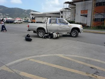 The accident today, February 13, 2018 near CIBC First Caribbean International Bank. Photo: Team of Reporters