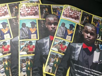 The funeral booklet for the late Nathaniel Isaac Jr. Photo: Team of Reporters