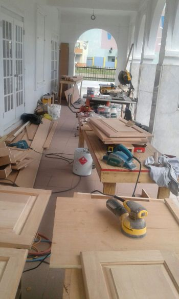 Repair works are ongoing at the Virgin Islands House of Assembly in Road Town, Tortola. Photo: Team of Reporters