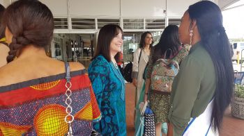 Chairwoman of the Miss World Organisation Julia E. Morley (green top) also is part of the delegation that made the historic visit to the Virgin Islands from today, February 25, 2018. Photo: Team of Reporters
