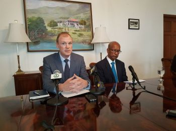His Excellency, Governor Augustus J. U. Jaspert (left) and Dr The Honourable D. Orlando Smith (AL), Premier and Minister of Finance (right), addressing the issue of security during at joint press conference today, Tuesday, February 27, 2018 at Governor's House in Road Town. Photo: Team of Reporters