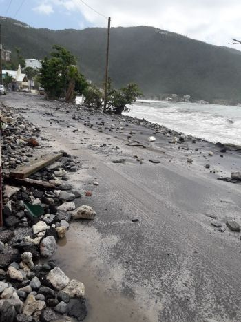 Cane Garden Bay's coastline was further impacted by the high seas and rough water. Photo: Team of Reporters
