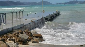 Virgin Gorda's ferry dock was impacted by high sea blast. Photo: Team of Reporters