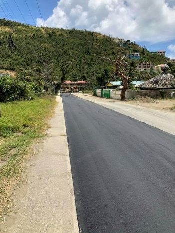 A paved strip of road through Sea Cows Bay, Tortola today, March 25, 2018. Photo: Team of Reporters