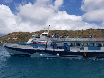 Captain Smith took his final sail on the Tortola Fast Ferry, one of many fleets of vessels from the Ferry Company he founded in 1986. Photo: Team of Reporters