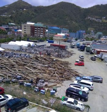 Currently, the festival grounds in Road Town has been occupied with relief supplies, heavy equipment along with material belonging to the BVI Electricity Corporation (BVIEC). Photo: Team of Reporters