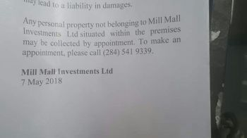 Part of the notice posted on the door of B&F Medical Complex allegedly by the landlord. Photo: Team of Reporters