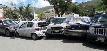 Five vehicles were involved in a collision in Booby's Supermarket parking lot today, May 8, 2018. Photo: Team of Reporters