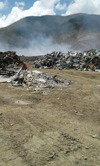 The dumpsite at Cox Heath, Tortola reached large proportions and Government has been struggling to manage the large buildup of debris. Photo: Team of Reporters
