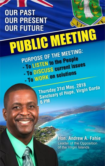 The public meeting starts at 6:00 P.M. and will take place at the Sanctuary of Hope, Valley, Virgin Gorda under the theme 'Our Past, Our Present, Our Future'. Photo: Team of Reporters