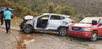 The damaged vehicle following the accident on Russell Hill, Tortola today, April 8, 2019. Photo: Team of Reporters