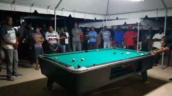 Jason Callwood aims to make a shot in the championship game against Leroy Jones in the 2nd annual Kenroy C. Millington Memorial Pool Tournament in Virgin Gorda on May 5, 2019. Photo: Provided