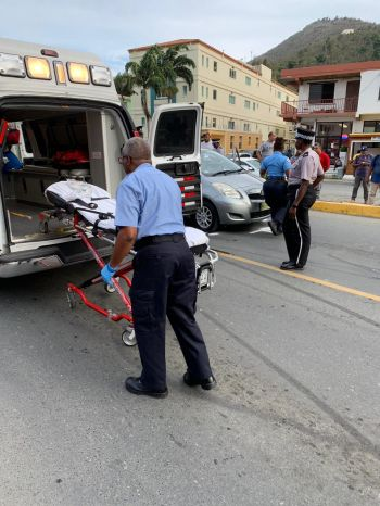 Police and ambulance on the scene of the accident on Waterfront Drive, Tortola, on June 3, 2019. Photo: Team of Reporters