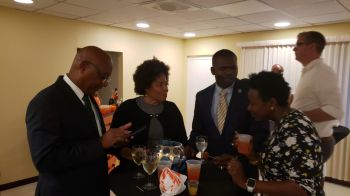 From left: Minister for Natural Resources, Labour and Immigration Honourable Vincent O. Wheatley (R9), Junior Minister of Tourism Honourable Shereen D. Flax-Charles (AL) and Minister for Transportation, Works and Utilities Honourable Kye M. Rhymer (R5) at the farewell for the National Culinary Team at Village Cay on June 17, 2019. Photo: VINO