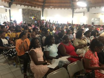 A section of the audience at the Bregado Flax Educational Centre (BFEC)-Secondary Division's 2019 Graduation Ceremony at the Catholic Community Centre, Virgin Gorda, on Friday June 28, 2019. Photo: VINO