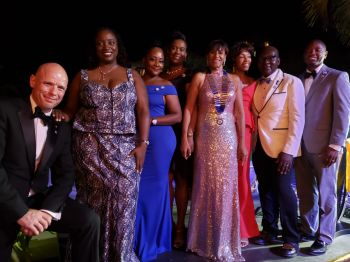The presidents of the Rotary Clubs in the Virgin Islands and the US Virgin Islands were also recognised at the Installation Ceremony for District 7020 Governor Mrs Delma Maduro, 5th from left, on July 6, 2019. Photo: Team of Reporters