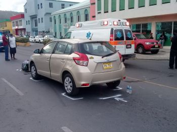 The vehicle involved in the accident with a motor scooter on Waterfront Drive, Tortola, on July 9, 2019. Photo: Team of Reporters