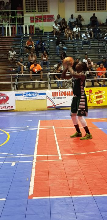 Killven M. Samuel of BVI Bayside Blazers takes a free throw against Aruba at the 6th annual 'Battle of the Fittest' Basketball Tournament in Philipsburg, St Maarten in convincing fashion. Photo: VINO