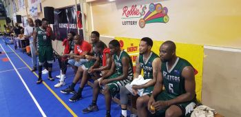 The BVI Bayside Blazers' bench against Curacao at the 6th annual 'Battle of the Fittest' Basketball Tournament in Philipsburg, St Maarten on July 17, 2019. Photo: VINO