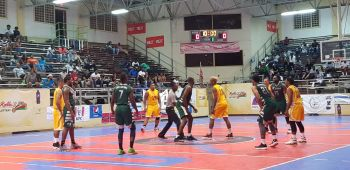 Action in the game between BVI Bayside Blazers and Curacao at the 6th annual 'Battle of the Fittest' Basketball Tournament in Philipsburg, St Maarten on July 17, 2019. Photo: VINO
