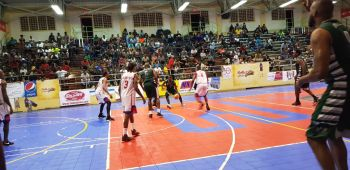 Action in the game between BVI Bayside Blazers and St Maarten in the semi-finals of the 6th annual 'Battle of the Fittest' Basketball Tournament in Philipsburg, St Maarten on July 19, 2019. Photo: Team of Reporters