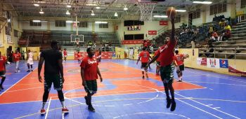 BVI Bayside Blazers warm up ahead of their clash with St Maarten in the semi-finals of the 6th annual 'Battle of the Fittest' Basketball Tournament in Philipsburg, St Maarten on July 19, 2019. Photo: Team of Reporters