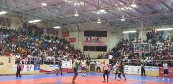 BVI Bayside Blazers on the attack against the Dominican Republic in the 6th annual 'Battle of the Fittest' Basketball Tournament held in Philipsburg, St Maarten on July 20, 2019. Photo: Team of Reporters