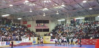 First quarter action in the game between BVI Bayside Blazers and Dominican Republic in the championship game of the 6th annual 'Battle of the Fittest' Basketball Tournament in Philipsburg, St Maarten on July 20, 2019. Photo: Team of Reporters