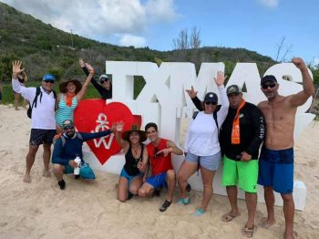 Some of the tourists strike a pose for Virgin Islands News Online at Christmas in July at White Bay, Jost Van Dyke on July 28, 2019. Photo: VINO