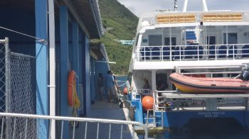 Jost van Dyke ferry, 'Paradise Princess', docks at the newly re-opened West End Port. Photo: VINO