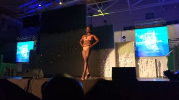 Contestant #5 Conelda Denny during the Swimwear segment of the Miss BVI Pageant held at Multi-Purpose Sports Complex in Road Town, Tortola, on August 4, 2019. Photo: VINO
