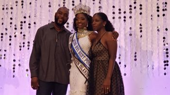 Miss BVI 2019 Bria A. Smith with her proud parents. Left is Deputy Speaker and At Large Representative Hon Neville A. Smith. Photo: VINO