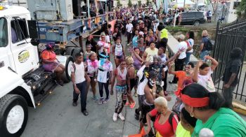 The Rise and Shine procession making its way past the Prime Time Festiville in Road Town on August 5, 2019. Photo: VINO