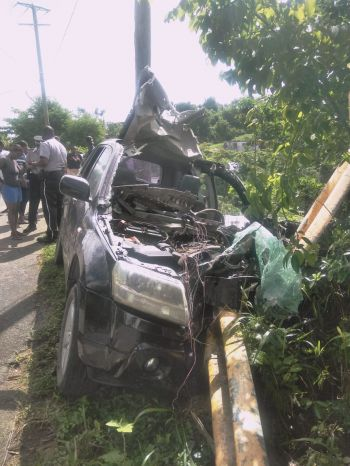 The scene of the horrific accident at Fahie Hill, Tortola today, August 5, 2019. Photo: Team of Reporters