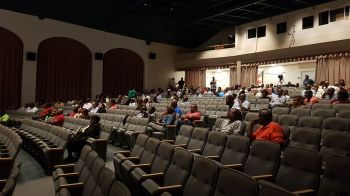 Well over a hundred persons attended the consultation meeting on the United Kingdom Loan Guarantee at the Eileene L. Parsons Auditorium on August 20, 2019. Photo: VINO