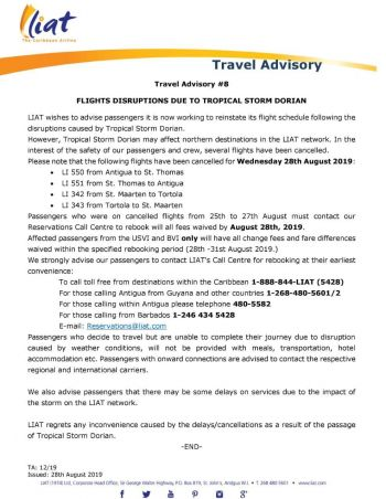 LIAT has cancelled flights to several destinations, including to the Virgin Islands, today, August 28, 2019. Photo: Facebook