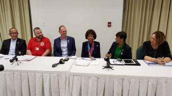 Members of the panel at the Rotary telethon for Bahamas relief at Maria's by the Sea on September 10, 2019. Photo: VINO