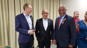 From left: Governor Augustus J.U. Jaspert, High Court Judge Mr Gerard St. C. Farara, QC, and Acting Premier and Minister for Natural Resources, Labour and Immigration Honourable Vincent O. Wheatley (R9) at the Rotary telethon on September 10, 2019. Photo: VINO