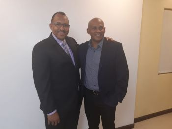 Proprietor of Bougainvillea Clinic, Dr Heskith A. Vanterpool, left, with Cardiologist Dr Mahendra Carpen at the one-year anniversary celebration of the clinic's catheterisation laboratory (cath lab) on Saturday, October 26, 2019. Photo: VINO
