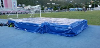 The new high jump landing mat, compliments of JOMA Properties Limited. Photo: Team of Reporters