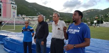 According to President of the BVI Athletics Association (BVIAA) Steve E. Augustine, right, local high jump athletes who recently participated in international meets had to spend time camping out in the US Virgin Islands to practice for their competitions. Also in photo, from left, are Stephanie Russ-Penn, Mr Colin O'Neal and Mr Reynold S. O'Neal, OBE. Photo: Team of Reporters