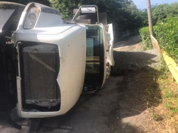 The toppled gravel truck at Windy Hill, Tortola, today, November 7, 2019. Team of Reporters