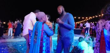BVI Tourist Board Director, Sharon P. Flax-Brutus, left, and Regional General Manager of Delta Petroleum (Caribbean) Limited, Mr Bevis A. Sylvester at the BVI Gourmet Soiree at Scrub Island on November 7, 2019. Photo: VINO