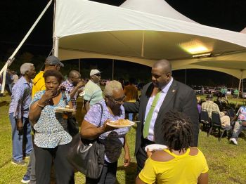 Premier and Minister of Finance, Honourable Andrew A. Fahie (R1) interacts with some of his senior constituents following his annual First District Report at the Cappons Bay Recreation Grounds on Saturday, January 11, 2020. Photo: TodmanBay Photography