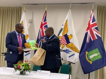 USVI Governor, Albert Bryan Jr, left, said an overall trade agreement will be looked into that would be beneficial to the people of the Virgin Islands. Photo: Team of Reporters